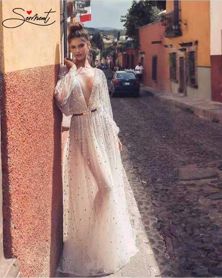 فستان سهرة أنيق طويل الأكمام مثير كامل الجسم شبكة مطرز كريستال بدون ظهر فستان محكم من عند الصدر ويتدلى بشكل واسع مناسب للرقص الرسمي