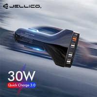 Jellico 30W 4 porty USB ładowarka samochodowa szybka ładowarka 3.0 telefon ładowarka do Samsunga Xiaomi QC3.0 szybkiego ładowania dla iPhone Huawei