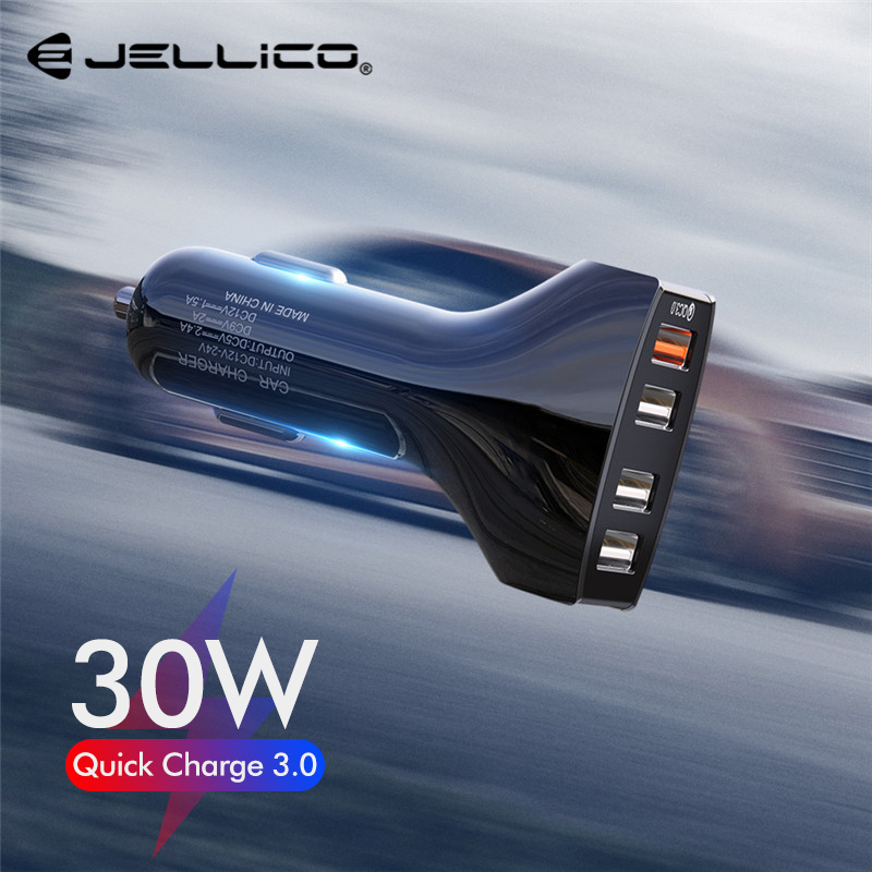 Jellico 30W <font><b>4</b></font> <font><b>Ports</b></font> <font><b>USB</b></font> Car Charger Quick Charge 3.0 Phone Charger for Samsung Xiaomi <font><b>QC3.0</b></font> Fast Charging for iPhone Huawei image