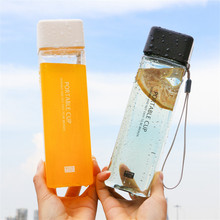 500ml Square Water Bottle Tea Milk Fruit Water Cup for Kids Lovers Transparent Outdoor Sport Travel Camping Bottle