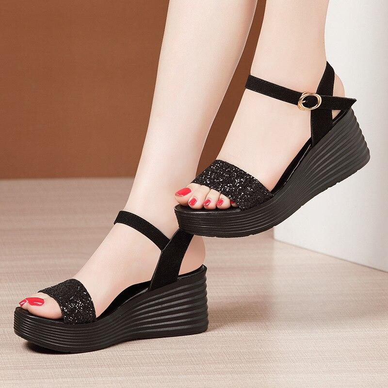 Senhoras sandálias de plataforma preta mulher sapatos