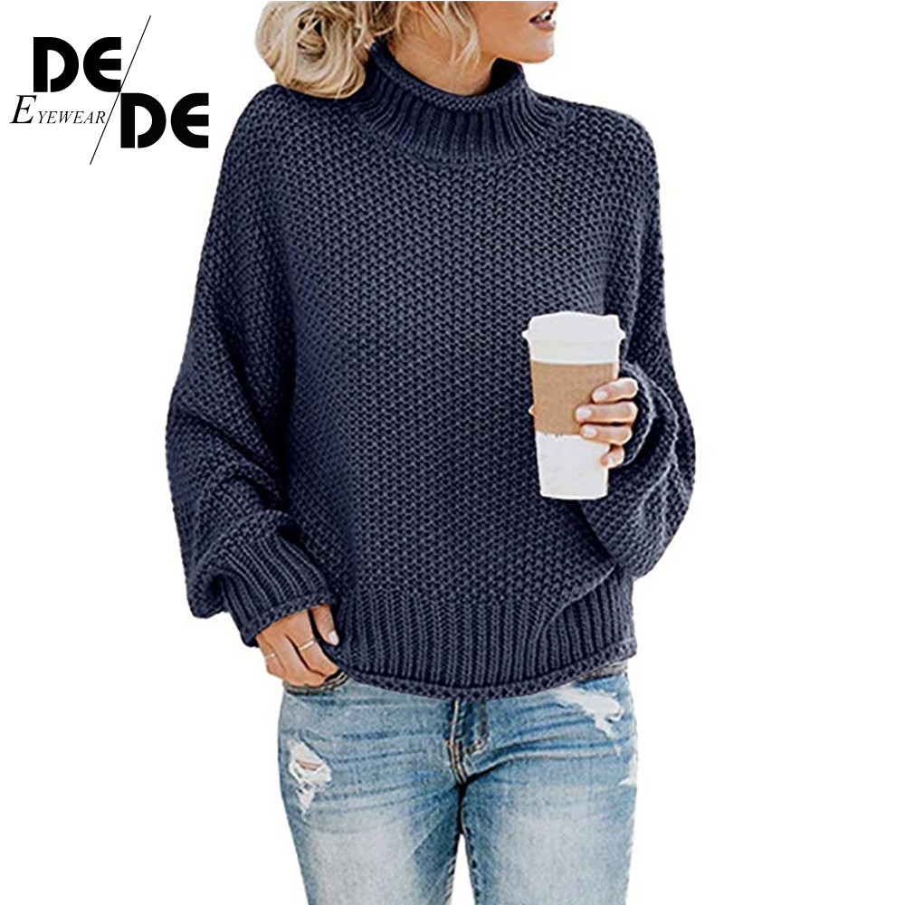 2019 Casual Loose Autumn Winter Turtleneck Sweater Women Oversize Solid Knitted Sweaters Warm Long Sleeve Pullover Sweater in Pullovers from Women 39 s Clothing