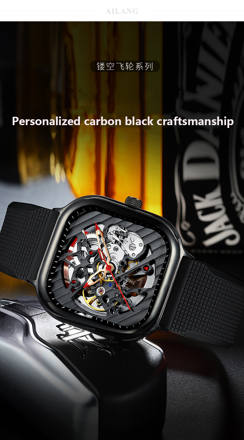 H249658fd72904b088c3b453b3b418f4bR 2020 new men's automatic watch brand luxury silicone strap hollow Swiss square ten watches