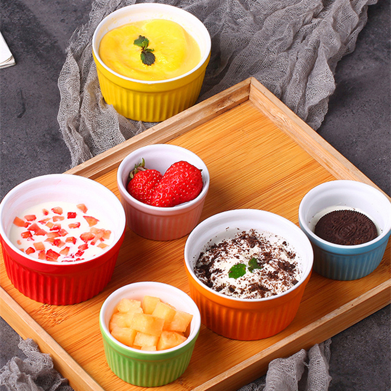 Striped Soufflé Small Baking Bowl Double Skin Milk Steamed Egg Bowl Pudding Cup Oven Tableware Baking Household Ice Cream Bowl