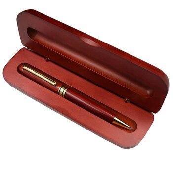 Jeden zestaw długopisów z pudełkiem piórnik z naturalnego drewna pióra do pisania 0.5mm czarny tusz urządzenie do napełniania biuro szkolne prezenty biznesowe