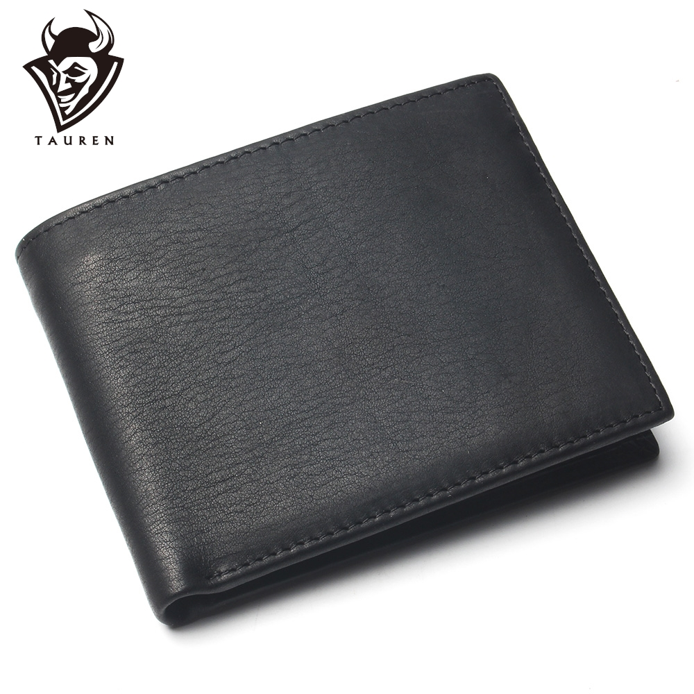 Men Short Wallet Pure Black Color Cheap 100% Genuine Leather Wallet For Man Coin Purse Card Holder