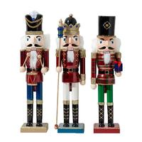 38/50CM Nutcracker Soldier Puppet Wood Nutcracker Doll Ornaments Handcraft Figurine Home Decoration Christmas Gifts
