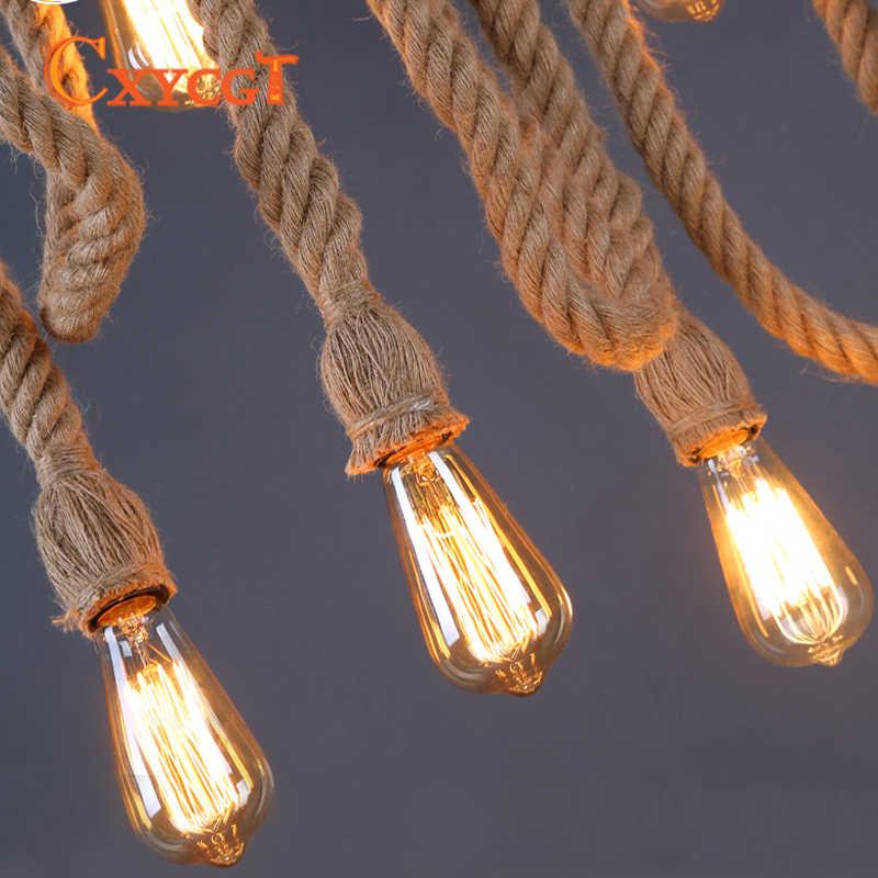 Винтажный подвесной светильник с веревкой для лофта творческой личности, промышленное Ретро освещение, американский стиль для гостиной