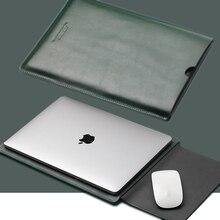 ACECOAT bölünmüş deri kol koruyucu çanta için macbook pro/hava 13 durumda 2020 dokunmatik bar Retina 13.3/15.4/16 dizüstü bilgisayar hakiki yeşil