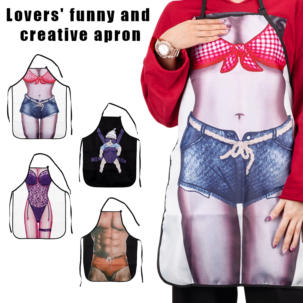 Funny 3D Cartoon <font><b>Kitchen</b></font> <font><b>Apron</b></font> Digital Printed <font><b>Sexy</b></font> Women <font><b>Aprons</b></font> Bibs BBQ Barbecue Cooking Creative Novelty Couple Party Gifts image