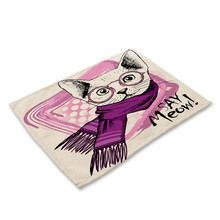 Cute Cat Placemats Flower Birds Owl Pattern Placemat Dining Table Mats Cotton Linen Drink Coaster Western Pad Cup Mats