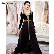 Smileven марокканские Кафтан Вечерние платья с v образным вырезом