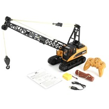 HUINA 1572 15ch RC Alloy Crane 1/14 2.4GHz Engineering Movable Latticed Boom Hook Mechanical Truck Toy Car With Sound Light ti huina toys car 1510 2 4g 1 16 11ch alloy rc excavator truck engineering construction vehicle toy with 680 rotation sound light