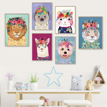Colorful Hedgehog Lion Liama Flower Crown Mini Nordic Posters And Prints Wall Art Canvas Painting Wall Pictures Kids Room Decor