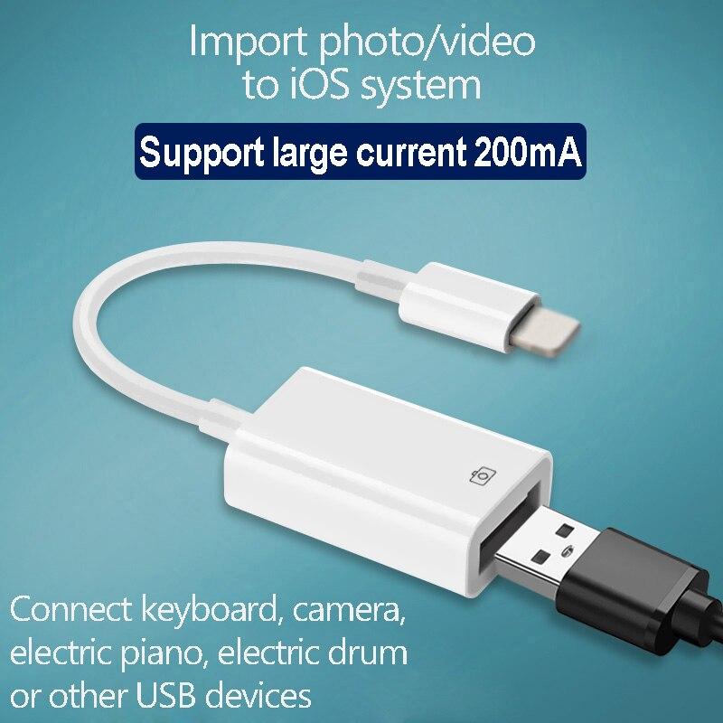 OTG USB zu kamera adapter für blitz USB kabel kopfhörer konverter Elektrische klavier MIDI Tastatur für iphone 7 8 ios 13 adapter
