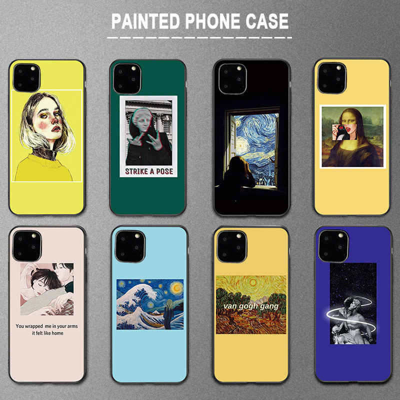 Lovebay Art Paintings Silicone Phone Case For iPhone 11 Pro X XR XS Max 7 8 6 6s Plus 5 5s SE 11 Woman Girl Soft TPU Back Cover