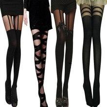Meias de seda sexy feminino recorte bandage meia-calça preta bowknot falso liga cinto collants tamanho grande feminino sobre o joelho meias