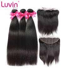 Luvin OneCut Hair Straight 8-30 28 Peruvian Hair Weave With 13x4 Lace Frontal Closure Remy Hair Natural Human Hair Extension(China)