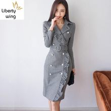 Sexy Ruffles Womens Long Sleeve Double Breasted Office Lady Dress Female Woolen Korean Style Elegant Woman Suits Slim Fit(China)
