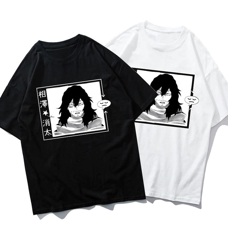 UNISEX Sleepy Shota Aizawa T-shirt My Hero Academia Boku No Hero Anime Loose Short Sleeve Cute Women T-shirt
