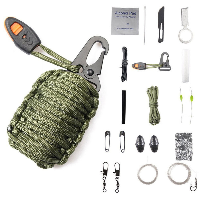 Multifunction Outdoor Carabiner Paracord Survival Kit Keychain Fishing Fire Starter Umbrella Rope Keychain Woven Fish Bag