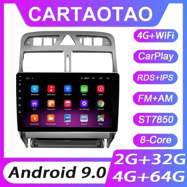 4G + 64G Android 9.0 Lettore DVD Dellautomobile Per Peugeot 307 307CC 307SW 2002 2013 Auto Radio GPS di Navigazione Lettore CarPlay RDS IPS 2DIN