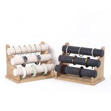 Removalbe pulseira de bambu 3 tier, suporte organizador de joias veludo exibição de joias