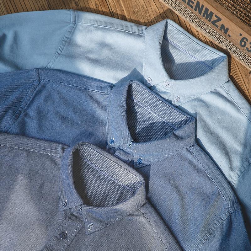 Maden Men's Cotton Retro Oxford Shirt Vintage Solid Color Long-Sleeved Slim Shirt Men