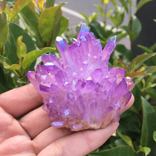 60-75g raro bonito roxo aura cristal de quartzo cluster