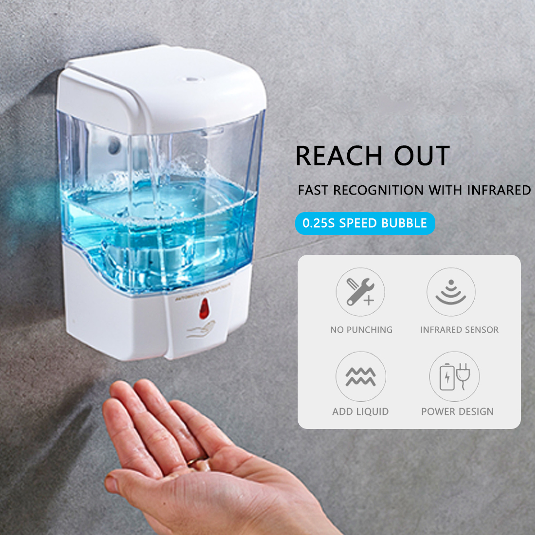 700ml Automatic Sensor Foam Soap Dispenser  Wall-Mount Soap Dispenser Touchless Soap Dispenser Battery Powered Kitchen Bathroom