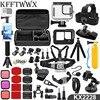 KFFTWWX – Kit d'accessoires pour Gopro Hero 9 Black, boîtier étanche, monopode, trépied, protection d'écran en verre