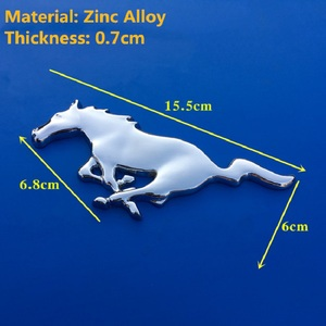 Image 4 - Tuning Car Universal 3D Metal Mustang Horse Front Hood Grille Emblem Sticker Running Horse Decal for Ford mustang accessories