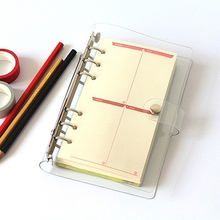 A5/A6/A7 PVC Notebook Notepad Sheet Shell Cover File Folder 6 Holes Binder DIY a5 a6 a7 pvc notebook spiral cover for 6 holes binder planner cover sheet shell transparent concise office school stationery