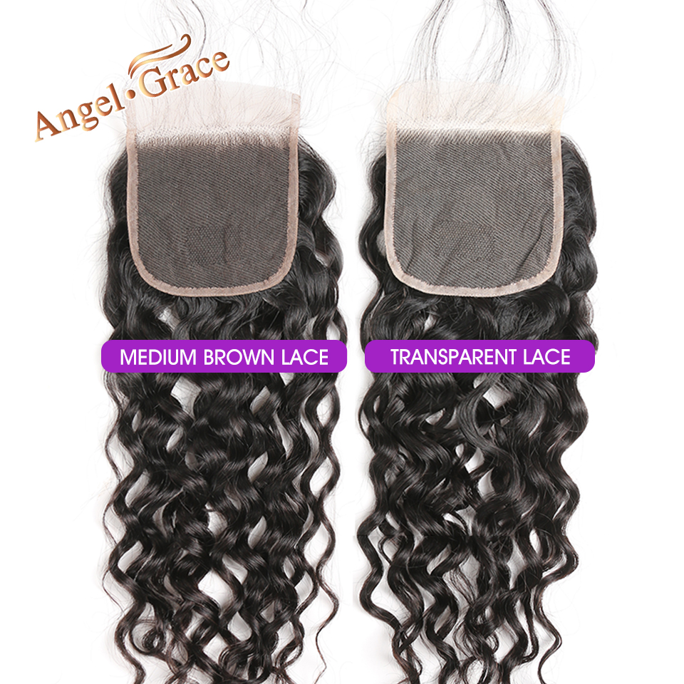 H24984c9a8d0f452793201e34e308b4acZ AngelGrace Hair Water Wave Bundles With Closure Remy Human Hair 3 Bundles With Closure Brazilian Hair Weave Bundles With Closure