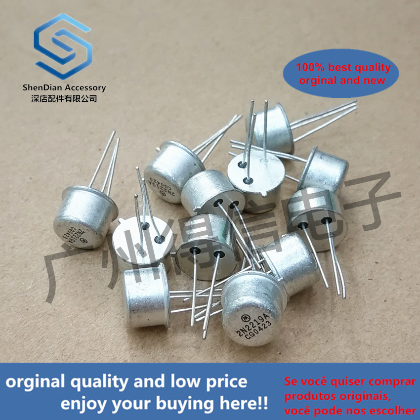 5pcs 100% Orginal New 2N2219A 2N2219 New Golden Sealed Iron Cap Tube TO-39  Real Photo