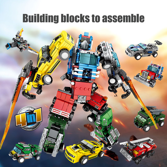 Technic Transformation Car Robot Bricks for Legiongs City Military Tank Helicopter Truck Action Figure Building Blocks Kids Toys