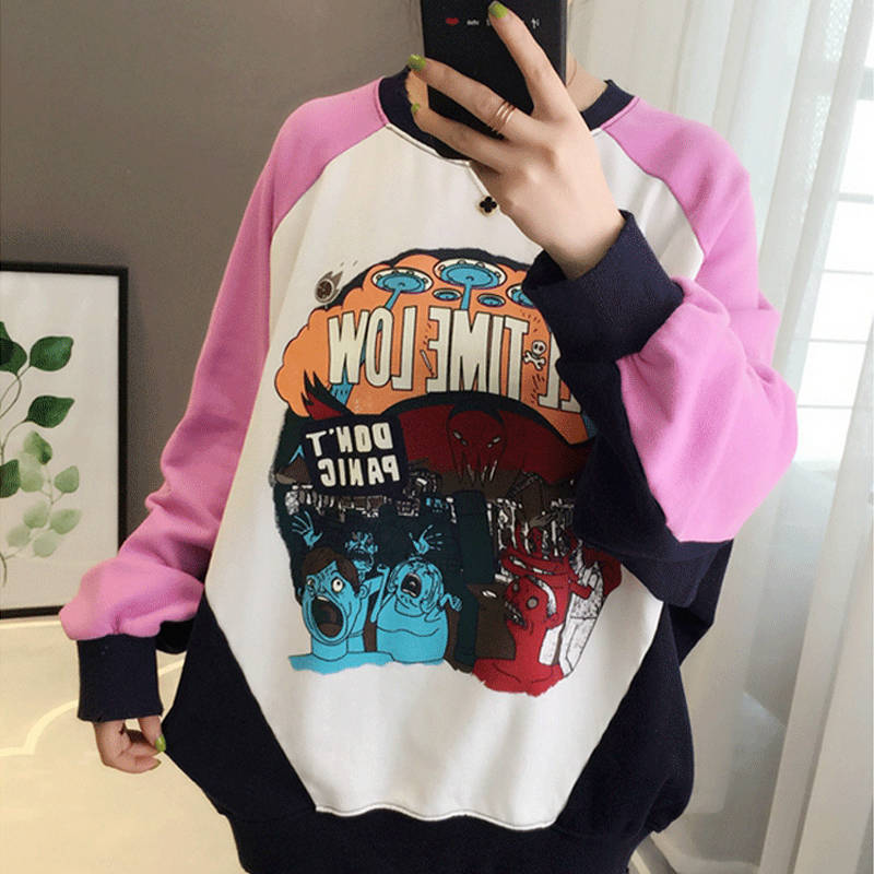 Harajuku Janpan Women Hoodie Sweatshirts Autumn Patchwork Pullovers Girls Hoodie Streetwear Casual Cute Loose Pink Hoodies Women
