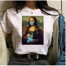 Мона Лиза маска эстетический harajuku футболка женская ullzang