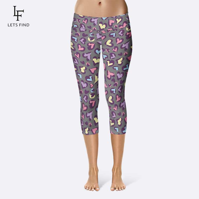 LETSFIND 220gsm Double Side Brushed Milk Silk Colorful Heart Print Women Mid-Calf Leggings High Waist Plus Size Capri Leggings