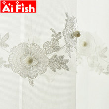 Beaded Mesh Fabric Window Curtain Tulle Embroidery Flower Sheer Drapes European White Mosquito Net Living Room Curtains M189#5(China)