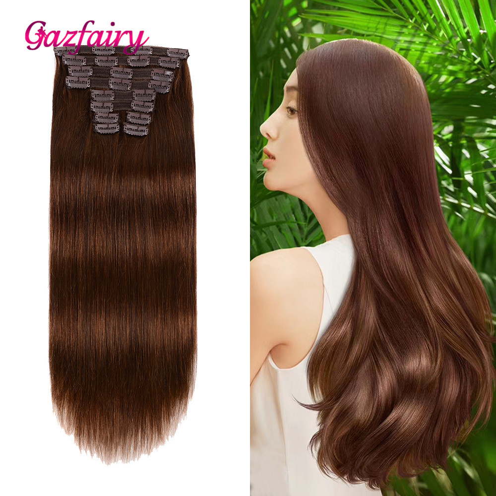 Gazfairy Hair Brazilian Remy Straight Hair Clip In Human Hair Extensions Natural Color 10 Pieces/Set Full Head 14 Inches 100g