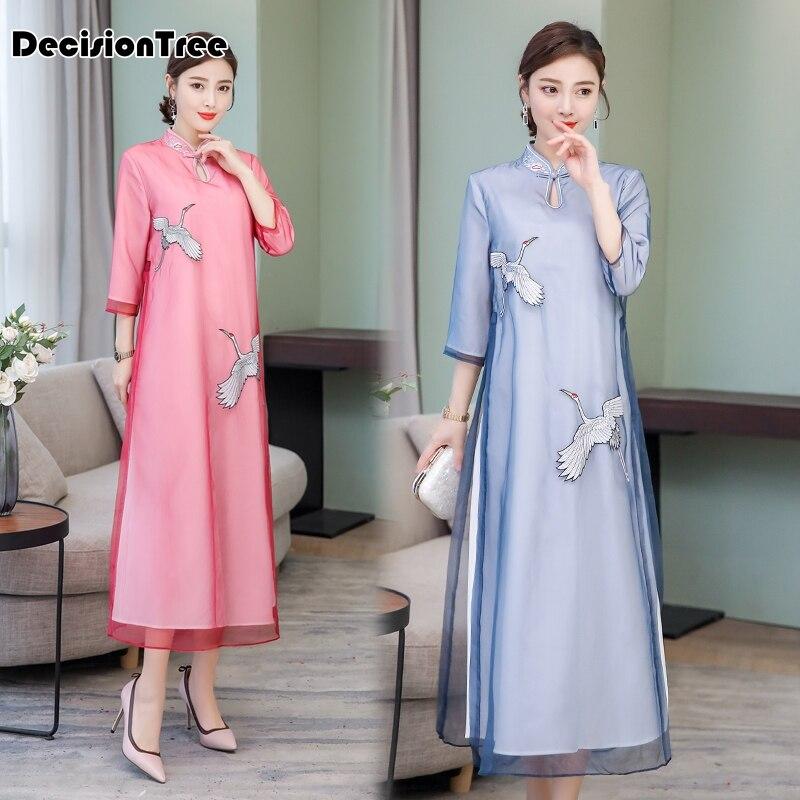 2019 Vintage Casual Retro Cheongsam Ao Dai Dress Ao Dai Vietnam Floral Dress Chiffon Long Robe Cheongsam Asian Clothes Qipao
