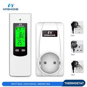 Image 2 - Nashone термостат Управление ЖК дисплей температуры Управление; РЧ беспроводной комнатный термостат обогрева пола 230V приз термостат Chauffage