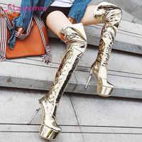Lasyarrow frauen extrem hohe stiletto ferse nacht club dance oberschenkel hohe stiefel damen plattform glänzenden silber über-die- knie stiefel