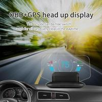 Car HD LED Windshield Projector Over speed Warning System HUD Auto Electronic Voltage Alarm OBD2+GPS Head Up Display Projector