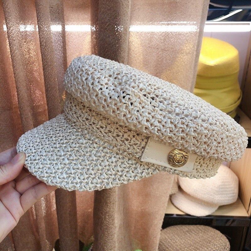 202005-HF88-452  2020 New Grass Weaving  Breathable  Baseball Cap Men Women Lady Sunscreen  Hat