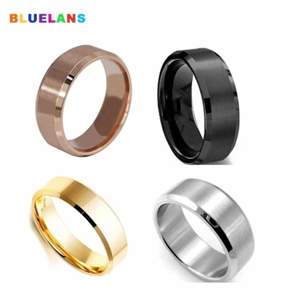 8 มม.แหวนไทเทเนียมเครื่องประดับ Silver GOLD Black Rose Gold แหวนผู้ชายผู้หญิงแฟชั่นเครื่องประดับ US 5 14 ขายส่ง кольца кольцо
