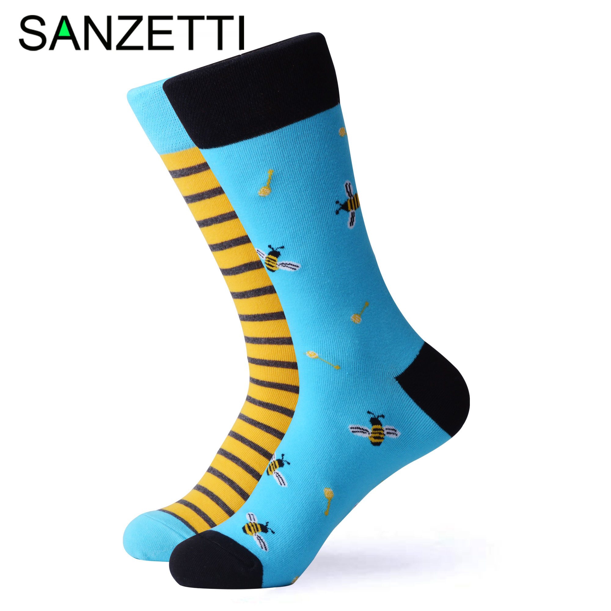 SANZETTI 1 Pair Colorful Bright Women Socks Novelty Combed Cotton Cute Party Bee Cake Donuts Pretty Wedding Dress Happy Socks