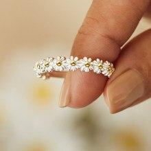 Anel de noivado do casamento do punho aberto ajustável anéis de noivado do sexo feminino da jóia bague da margarida do vintage para as mulheres