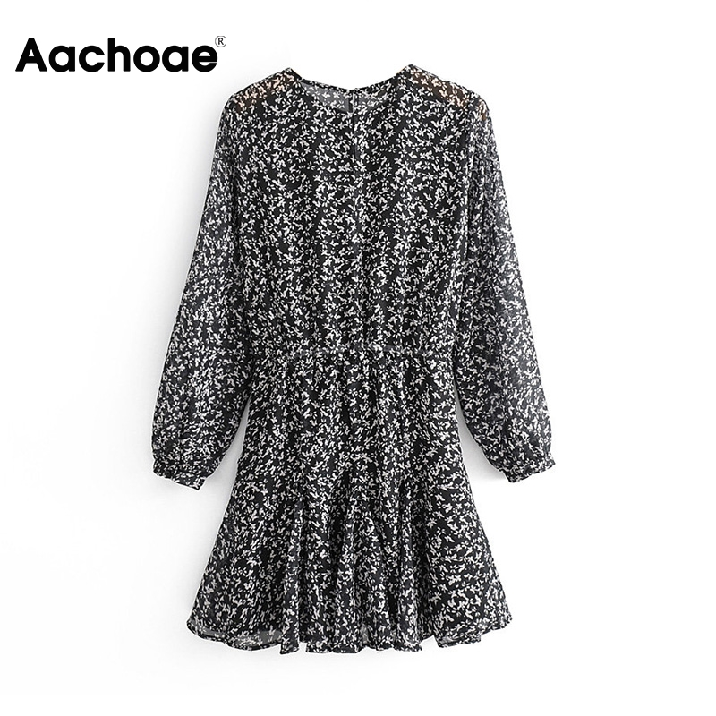 Floral Print Mini Dress Women Fashion Hollow Out Lantern Long Sleeve Ladies Dresses Elastic Waist O Neck Female Casual Dress